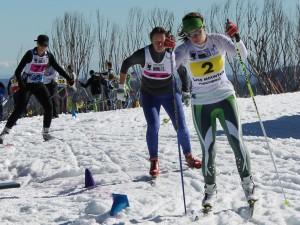 Lescinska Grimmer leading out Sandra Paul and Belinda Cribben in the Lake Mountain Sprint X