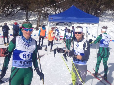 Anna Trnka and Esther Bottomley before the start of the 5km Classic