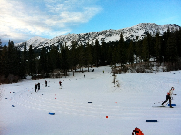 The part of the sprint course with Bridger Mountains in the background.