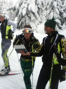 Nick Grimmer doing technique analysis with Ashleigh Spittle, 2012-2013 nternational Junior Team Tour