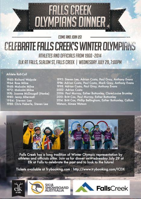 2015 Falls Creek Winter Olympians Dinner Flyer