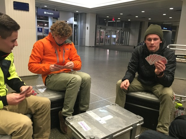 We had to wait for Pete at the airport for a few hours so we busted out the cards for a few games.
